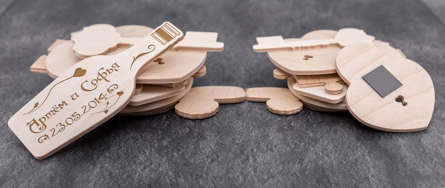 деревянные магниты с лазерной резкой