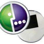 Круглый акриловый магнит с логотипом мегафон