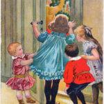 Открытка 19 века, дети