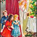 Открытка 19 века, праздничный стол