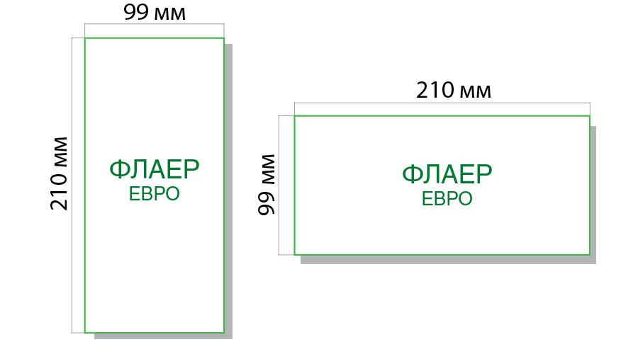 размер еврофлаера 99х210 мм